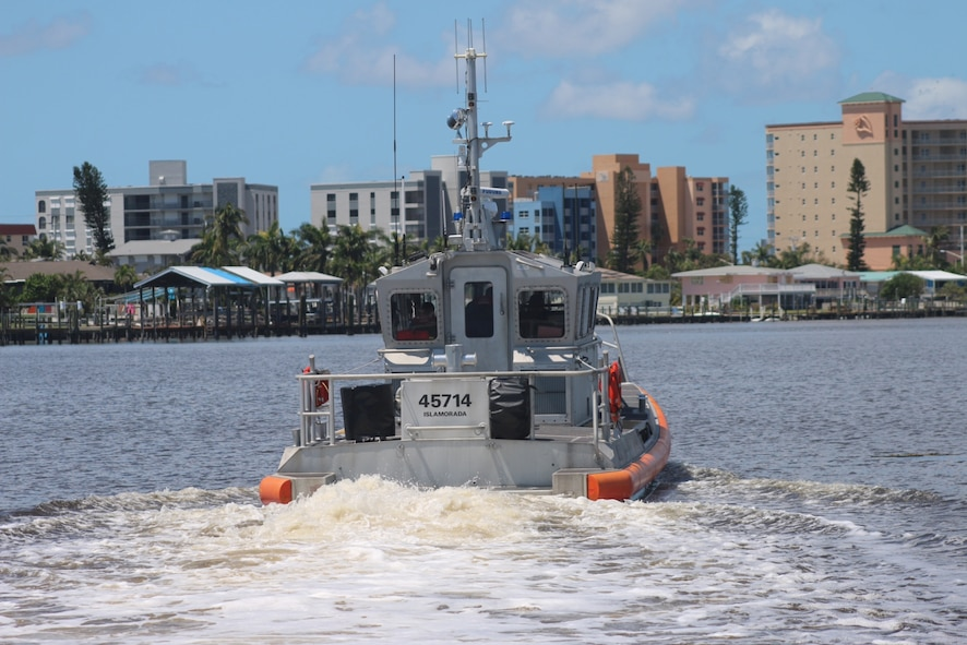 Crews from Station Islamorada and Station Marathon transit from Fort Myers, Florida, to Islamorada, Florida, Sept. 12, 2017 aboard response boat-mediums. The crews are heading to Islamorada to conduct aids-to-navigation verification, search and rescue, and port assessment and reconstruction missions. U.S. Coast Guard photo.