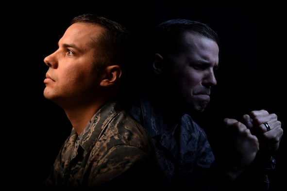 Tech. Sgt. Lloyd, 22nd Attack Squadron sensor operator, poses for an illustrative photo for National Suicide Prevention Awareness month Sept. 14, 2017, at Creech Air Force Base, Nev.