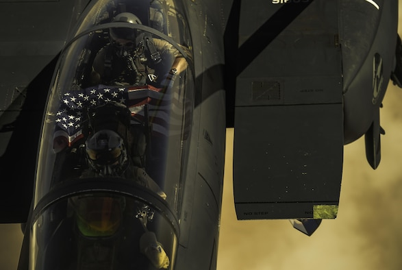 An F-15E Strike Eagle receives fuel from a KC-135 Stratotanker during a mission over Iraq in support of Operation Inherent Resolve Sept. 6, 2017. The Strike Eagle is a dual-role fighter designed to perform air-to-air and air-to-ground missions. An array of avionics and electronics systems give the F-15E the capability to fight at low altitude, day or night, and in all weather conditions. (U.S. Air Force photo by Staff Sgt. Trevor T. McBride)