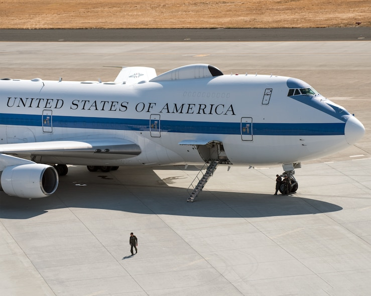 An E-4B aircraft sits on the tarmac at Travis Air Force Base, Calif., Sep. 11, 2017. The E-4B participated in a flyover at the California Capital Airshow. (U.S. Air Force photo by Louis Briscese)