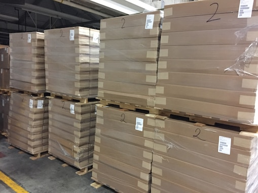 Cots await shipment at DLA Distribution Susquehanna, Pennsylvania.