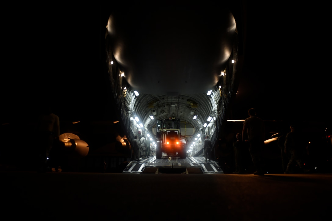 An aircrew prepares a C-17 Globemaster III for takeoff prior to a mission to Homestead Air Reserve Base, Fla. Sept. 11, 2017. Days prior the crew flew the final mission out of MacDill Air Force Base, Fla. prior to Hurricane Irma making landfall in Florida.