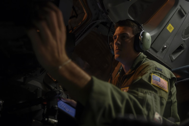 1st Lt. Ty Wojtysiak, 16th Airlift Squadron pilot, runs through a preflight checklist prior to a mission to Homestead Air Reserve Base, Fla. Sept. 11, 2017.