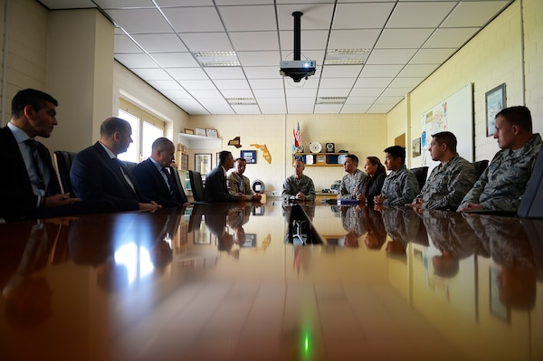 Officials from the 86th Munitions Squadron, U.S. Air Forces in Europe and Air Forces Africa, and the Luxembourg government's Warehouses Service Agency, meet to discuss matters concerning WSA operations in Luxembourg, Sept. 14, 2017. Airmen of the 86th MMS are responsible for inspecting, maintaining, and keeping accountability of the Air Force's War Reserve Material in Europe. (U.S. Air Force photo by Airman 1st Class Joshua Magbanua)