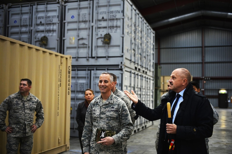 U.S. Air Force Col. Bradford Coley, U.S. Air Forces in Europe and Air Forces Africa chief of the logistics readiness division, (center), tours U.S. Air Force resources in Luxembourg, Sept. 14, 2017. The Luxembourg government's Warehouse Service Agency manages the facility, but the 86th Material Maintenance Squadron is responsible for keeping accountability of the resources stored in the compound. (U.S. Air Force photo by Airman 1st Class Joshua Magbanua)