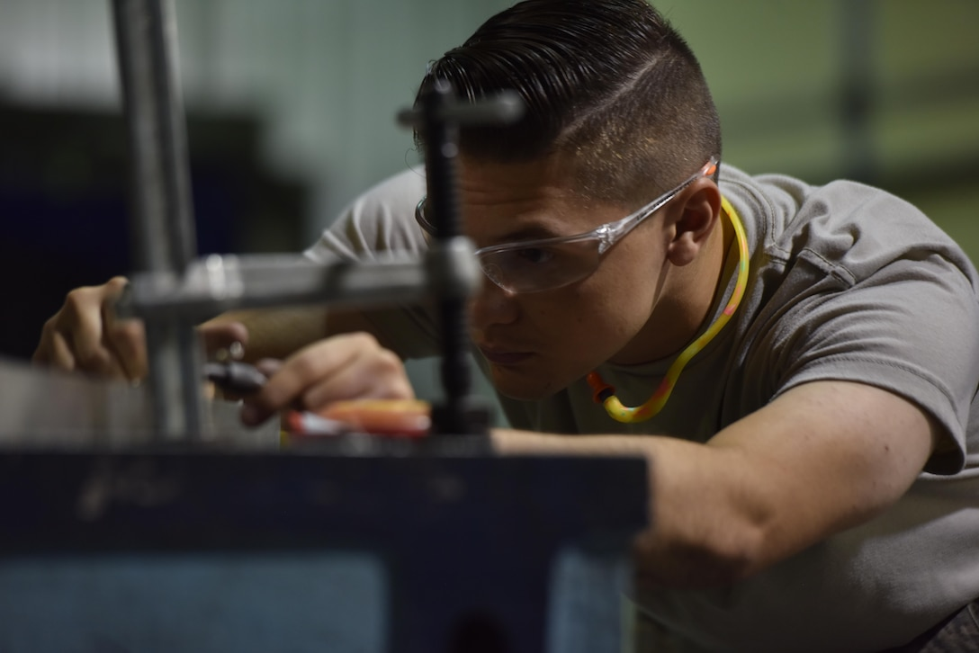The Airmen of the 509th Maintenance Squadron metals technology shop make repairs to various pieces of equipment at Whiteman Air Force Base, Mo., Aug. 18, 2017