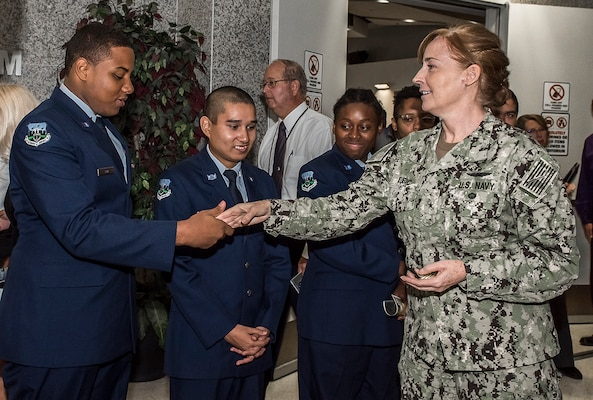 The JROTC cadets participated in a Sept. 13 ceremony at Defense Supply Center Columbus.