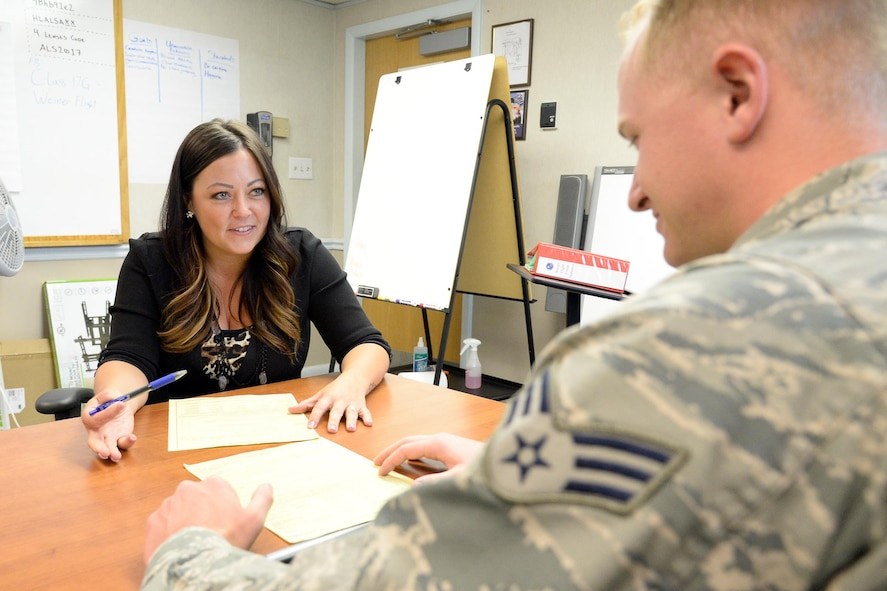Heidi Wise, 309th Missile Maintenance Wing, practices an initial feedback session with Senior Airman Zackery Hedden, 75th Security Forces Squadron, at Airman Leadership School, Aug. 21, 2017, at Hill Air Force Base, Utah.