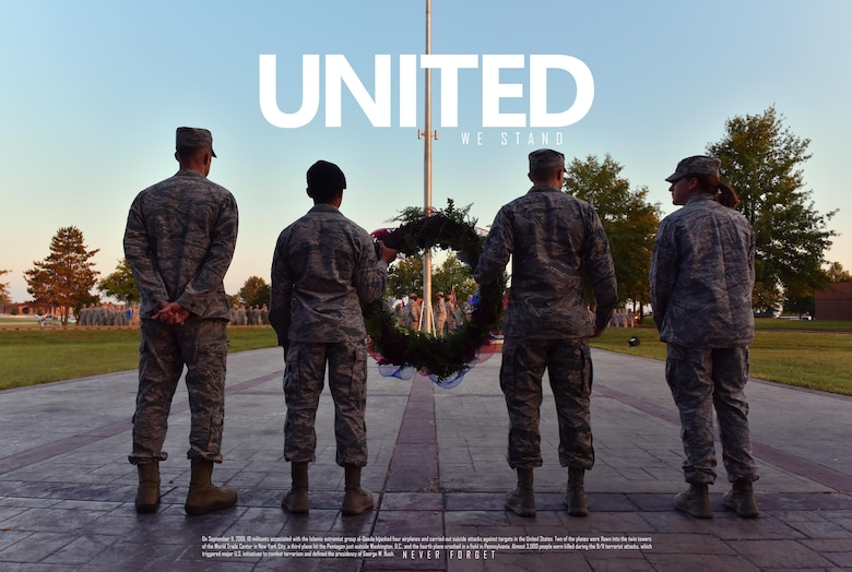 Airmen assigned to the 509th Bomb Wing participate in a 9/11 remembrance ceremony Sept. 11, 2017 at Whiteman Air Force Base, Mo.