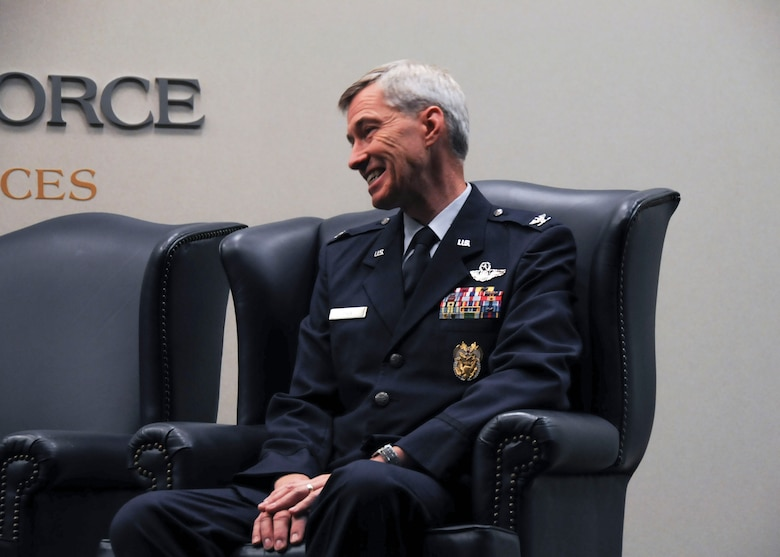 Col. Larry E. Tyer Jr., 94th Airlift Wing inspector general, smiles during his retirement ceremony at Dobbins Air Reserve Base, Ga. Sept. 10, 2017. He officially retires on Oct. 1, 2017 after 30 years of service - 25 of which were spent here at Dobbins. (U.S. Air Force photo/Senior Airman Justin Clayvon)