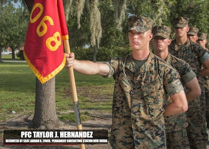 Private First Class Taylor J. Hernandez graduated Marine Corps recruit training September 15, 2017, aboard Marine Corps Recruit Depot Parris Island, South Carolina. Hernandez was the Honor Graduate of platoon 3068. Hernandez was recruited by Staff Sgt. Adrian K. Lynch from Permanent Contacting Station New Iberia. (U.S. Marine Corps photo by Lance Cpl. Jack A. E. Rigsby)