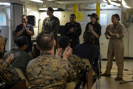 INDIAN OCEAN (Aug. 26, 2017) – Women in leadership roles or who hold uncommon military occupational specialties in the Navy and Marine Corps are recognized on National Women Equality Day aboard USS San Diego (LPD 22). The Diversity Committee organized the event to recall and honor women throughout history and women aboard USS San Diego. (U.S. Marine Corps photo by Cpl. Timothy Valero)