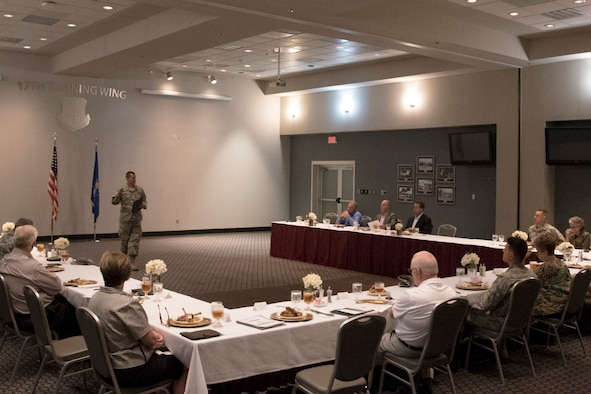 U.S. Air Force Col. Jeffrey Sorrell, 17th Training Wing vice commander, speaks to the San Angelo civic leaders during a luncheon at the Event Center on Goodfellow Air Force Base, Texas, Sept. 13, 2017. The civic leaders consisted of members spanning multiple professions and roles within the San Angelo community. (U.S. Air Force photo by Airman Zachary Chapman/Released)