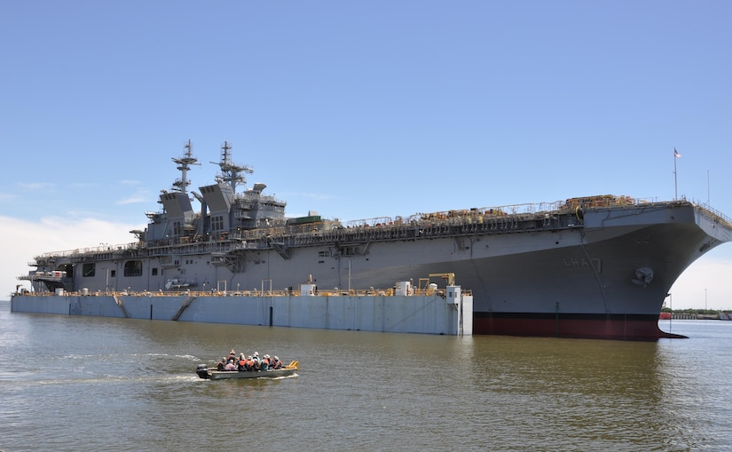The future USS Tripoli launches at Huntington Ingalls Industries in Pascagoula, Miss., May 1, 2017. The Tripoli incorporates an enlarged hangar deck, enhanced maintenance facilities, increased fuel capacity and additional storerooms to provide the fleet with a platform optimized for aviation capabilities. Navy photo