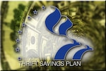 The Thrift Savings Plan emblem is superimposed over a hurricane-like spiral of money