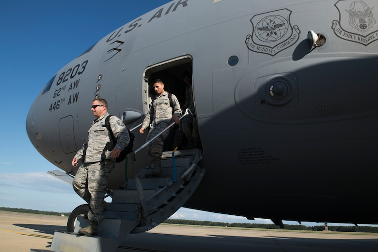 The C-17 aircrew returned 20th Fighter Wing Airmen home after a short-notice hurricane evacuation of Shaw's F-16CM Fighting Falcons. (