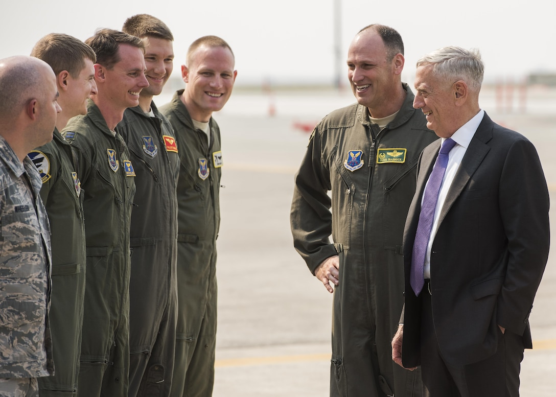 Secretary of the Defense Jim Mattis speaks to 5th Operations Group members at Minot Air Force Base, N.D., Sept. 13, 2017. During his visit, Mattis spoke to Airmen from the 5th Bomb Wing about the on-going deterrence mission. (U.S. Air Force photo/Senior Airman J.T. Armstrong)