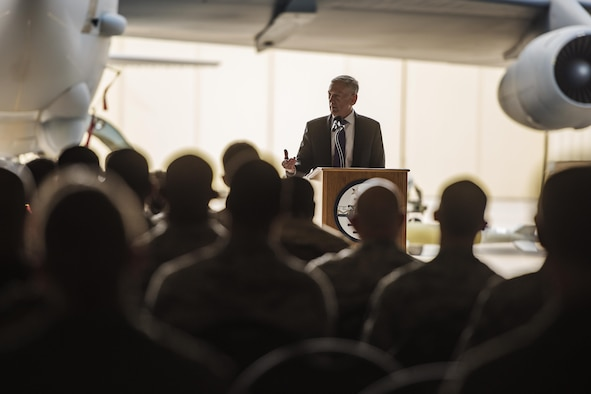 Secretary of the Defense Jim Mattis speaks with Airmen at Minot Air Force Base, N.D., Sept. 13, 2017. During his visit, Mattis toured 5th Bomb Wing and 91st Missile Wing units and spoke with Airmen emphasizing the importance of the nuclear deterrence mission. (U.S. Air Force photo/Senior Airman J.T. Armstrong)
