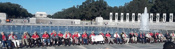 The Honor Flight veterans at the World War II monument.