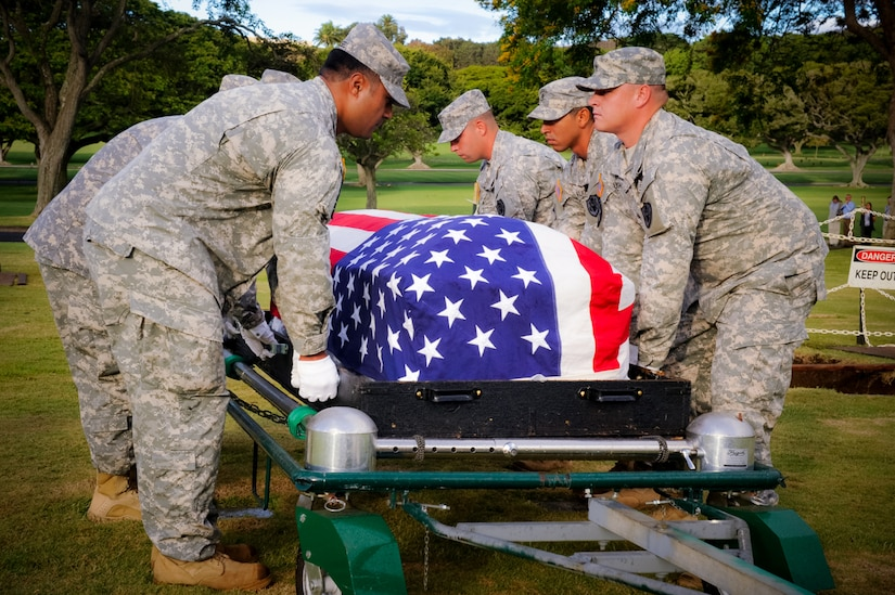U.S. service members from the Defense POW/MIA Accounting Agency participate in a disinterment ceremony, July 13, at the National Memorial Cemetery of the Pacific