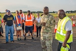 Lt. Gen. Darrell K. Williams, Director, Defense Logistics Agency, Fort Belvoir, Virginia, visits the DLA and other support personnel at Maxwell Air Force Base in support of relief efforts for Hurricane Irma Sept. 14, 2017. (U.S. Air Force photo/Trey Ward)