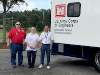 Seattle District's Tim Warren, Cathie Desjardin and Charles Ifft pose for a photograph in Tallahassee, Florida. They are deployed as an Infrastructure Assessment Team where they are managing water and waste water treatment plant assessments as well as other technical assistance requests. The District, has so far deployed 13 technical experts to support both Hurricane Irma and Hurricane Harvey recovery efforts.