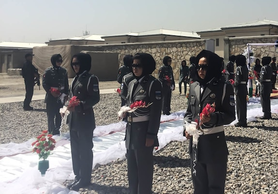 Women of the Afghan National Police participated in a Ribbon Cutting ceremony at a newly completed Women Participation Program Compound in Kabul, Sept. 13.
