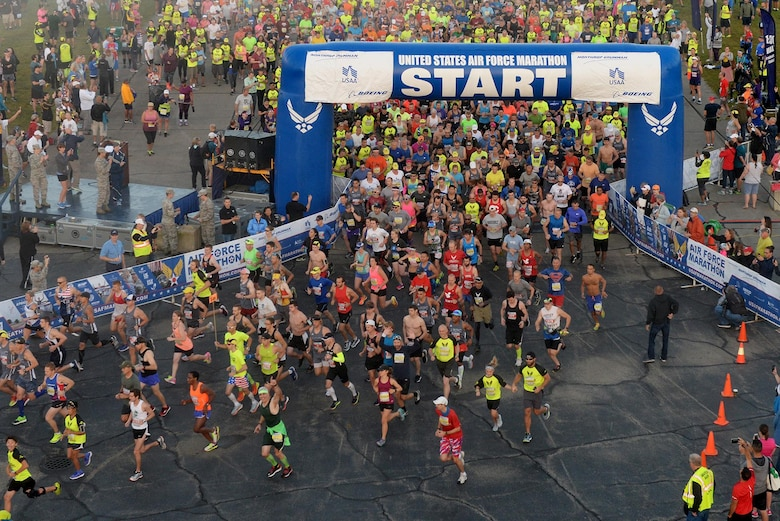 Runners take off for the start of the 21st annual U.S. Air Force Marathon Sept. 16, 2017 at Wright-Patterson Air Force Base.  Over 13,500 runners participated in a 5K, 10K, half and full marathon supported by more than 2,400 volunteers.  (U.S. Air Force photo / Wesley Farnsworth)