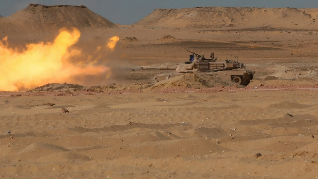 M1A2 Abrams Main Battle Tank crews assigned to Charlie Company, 2nd Battalion, 7th Cavalry Regiment, 3rd Armored Brigade Combat Team, 1st Cavalry Division engage targets at a live fire accuracy screening test range at Mohamed Naguib Military Base, Egypt, Sept. 15 in preparation for a culminating combined arms live fire exercise as part of the field training exercise of Exercise Bright Star 2017. Bright Star is a bilateral exercise between U.S. Central Command and the Arab Republic of Egypt during which about 200 U.S. personnel participated in a command-post exercise, a field training exercise and a senior leader seminar to promote and enhance regional security and cooperation. (U.S. Army photo by Staff Sgt. Leah R. Kilpatrick)