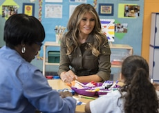 Melania Trump does crafts with children.