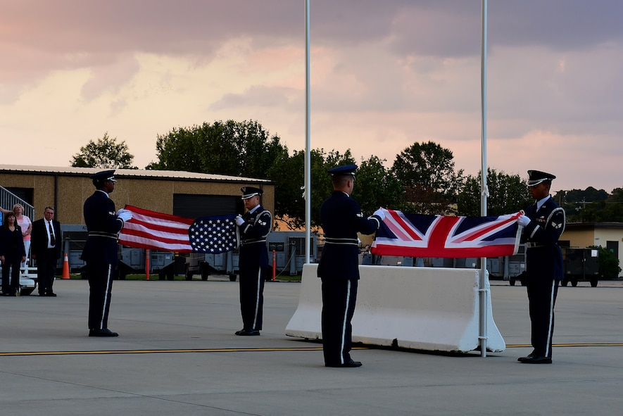 Members of the Seymour Johnson Air Force Base Honor Guard fold the flags of the United States and the United Kingdom, Sept. 15, 2017, at Seymour Johnson AFB, North Carolina.