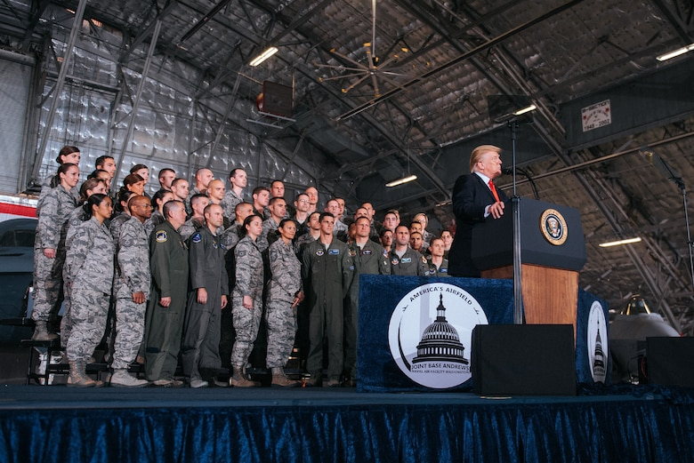 President Trump and military group