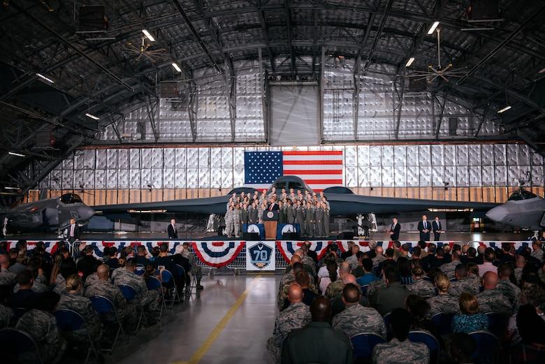 President Trump in hangar