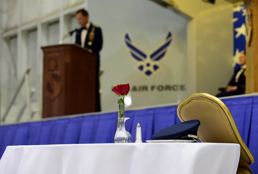 Col. Christopher Sage, 4th Fighter Wing commander, speaks during the 4th Fighter Wing 75th Anniversary Gala, Sept. 16, 2017, at Seymour Johnson Air Force Base, North Carolina. The anniversary weekend also commemorated the Battle of Britain when Nazi Germany bombed Britain during World War II. (U.S. Air Force photo by Airman 1st Class Kenneth Boyton)