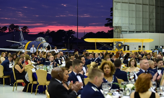 Members from Team Seymour and other distinguished visitors attend the 4th Fighter Wing 75th Anniversary Gala, Sept. 16, 2017, at Seymour Johnson Air Force Base, North Carolina. Some distinguished visitors included former 4 FW commanders, Brig. Gen. Mark Slocum, United States Air Forces in Europe-United Kingdom director, and Gen. Mike Holmes, Air Combat Command commander. (U.S. Air Force photo by Airman 1st Class Kenneth Boyton)