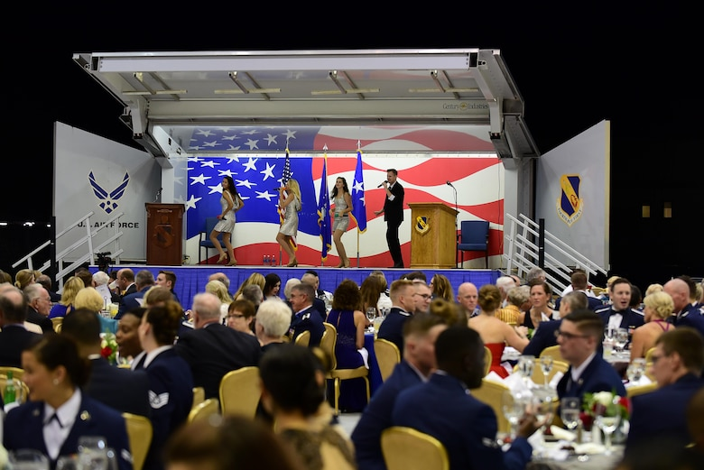 The USO Show Troupe performs during the 4th Fighter Wing 75th Anniversary Gala, Sept. 16, 2017, at Seymour Johnson Air Force Base, North Carolina. More than 400 people attended the gala. (U.S. Air Force photo by Airman 1st Class Kenneth Boyton)