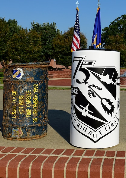 A new time capsule, right, sits next to an excavated time capsule from 1992, Sept. 15, 2017, at Seymour Johnson Air Force Base, North Carolina. Every 25 years, a time capsule is dug up, its contents revealed and then placed in a new time capsule with additional items to be seen again in another 25 years. (U.S. Air Force photo by Airman 1st Class Kenneth Boyton)
