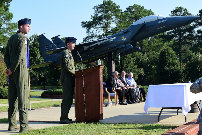 Col. Christopher Sage, 4th Fighter Wing commander, addresses the audience during the 2017 Time Capsule Unveiling, Sept. 15, 2017, at Seymour Johnson Air Force Base, North Carolina. Sage said he is honored to be part of such a significant historical event which will tell the 4th FW's story to those who unearth the capsule 25 years from now. (U.S. Air Force photo by Airman 1st Class Kenneth Boyton)