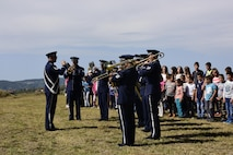 The U.S. Air Forces in Europe jazz band performs the Serbian national anthem at the 73rd Halyard Mission ceremony at Galobica Field in Pranjani, Serbia, Sept. 16, 2017.