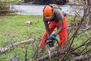 Navy Seaman Rafael Mora-Macedo uses a chain saw to help remove fallen trees felled by Hurricane Irma.