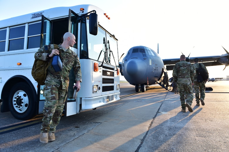 Capt. John Rebolledo, 61st Airlift Squadron pilot, leaves for deployment to Southeast Asia at Little Rock Air Force Base, Ark. Robelledo will be in charge of conducting mission support and transporting essential supplies and personnel upon his arrival. (U.S. Air Force photo by Airman Rhett Isbell)