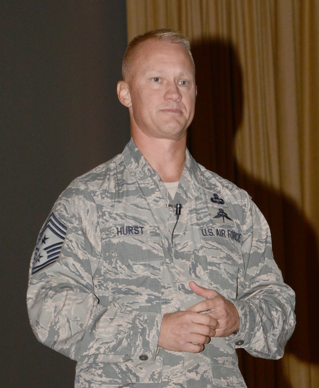 """552nd Air Control Wing Command Chief Master Sgt. Mark Hurst was the featured speaker at the """"Still in the Fight"""" luncheon held Sept. 8 at the base theater. The chief reflected on the 16 years since the terror attacks on 9/11."""