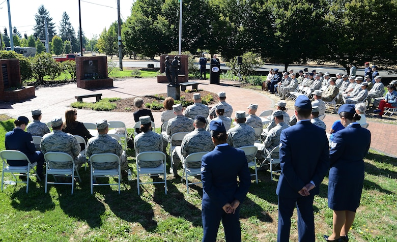 Retired Chief Master Sgt. Daniel Yeomans, Air Force Sergeants Association president, gives a speech during the POW/MIA wreath laying ceremony, Sept. 11, 2017, at Joint Base Lewis-McChord, Wash.