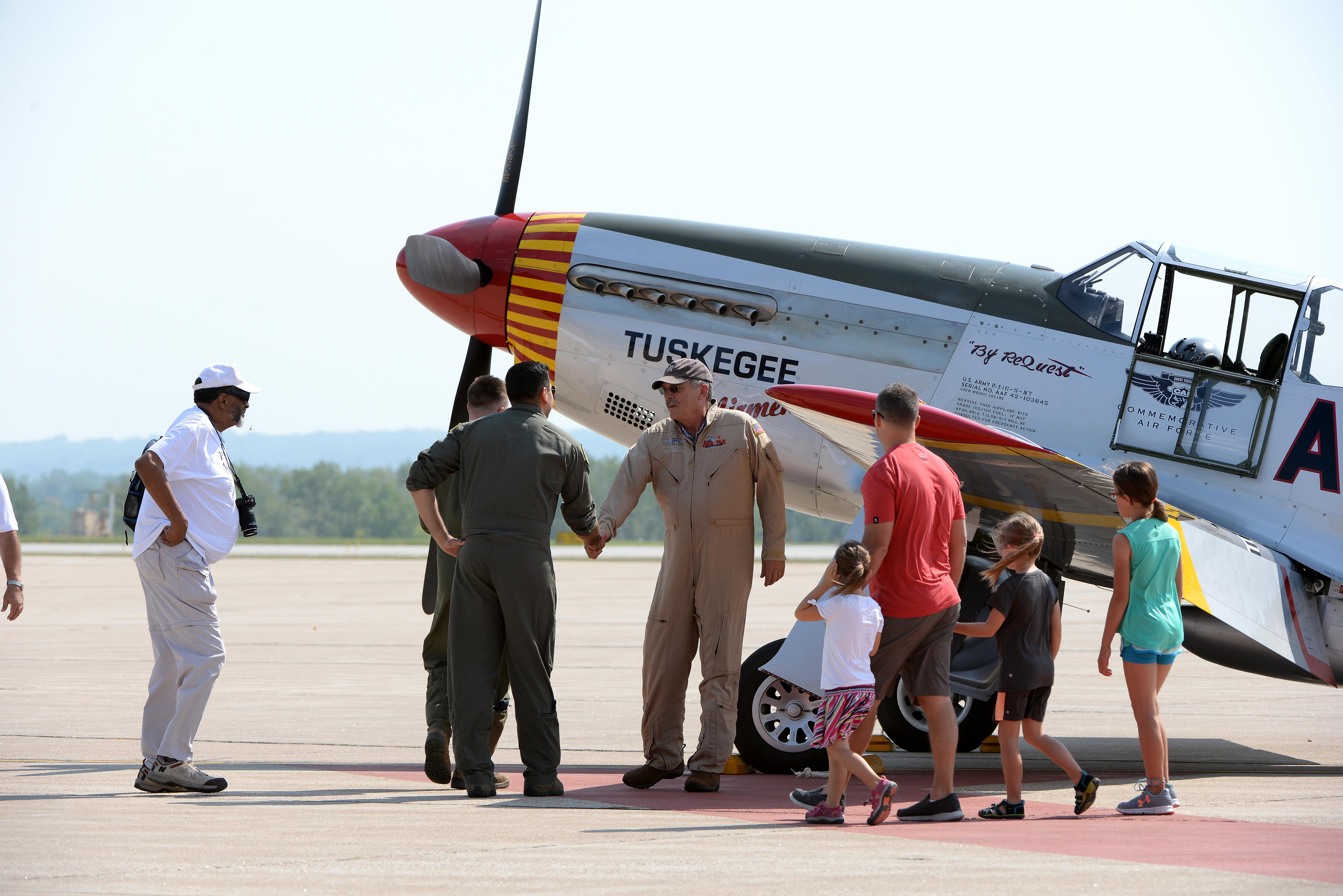 """Tuskegee Airman, P-51C """"Red Tail"""" Mustang make a stop at Offutt"""