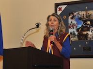 Sadie Moles, a former prisoner of war, speaks during a POW/MIA Recognition Day remembrance ceremony