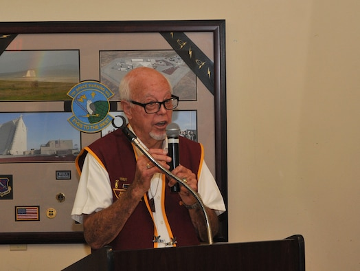 Obie Wickersham, a former prisoner of war during the Korean War, speaks during a POW/MIA Recognition Day remembrance ceremony