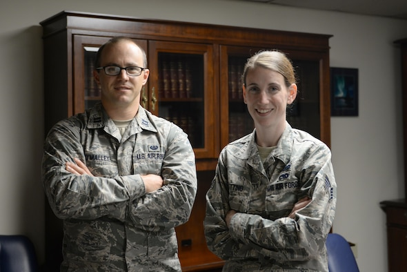 U.S. Air Force Capt. Brandon O'Malley, the Area Defense Counsel (ADC) for Eielson Air Force Base (AFB), poses for a photo with Staff Sgt. Kimberly Bottino, a defense paralegal with the ADC, August 23, 2017, at Eielson AFB, Alaska. O'Malley and Bottino are the new ADC team to represent Eielson's Airmen in the case of legal trouble. (U.S. Air Force photo by Senior Airman Cassie Whitman)