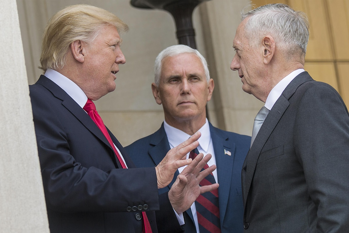 President Donald J. Trump and the vice president talk with Defense Secretary James N. Mattis.
