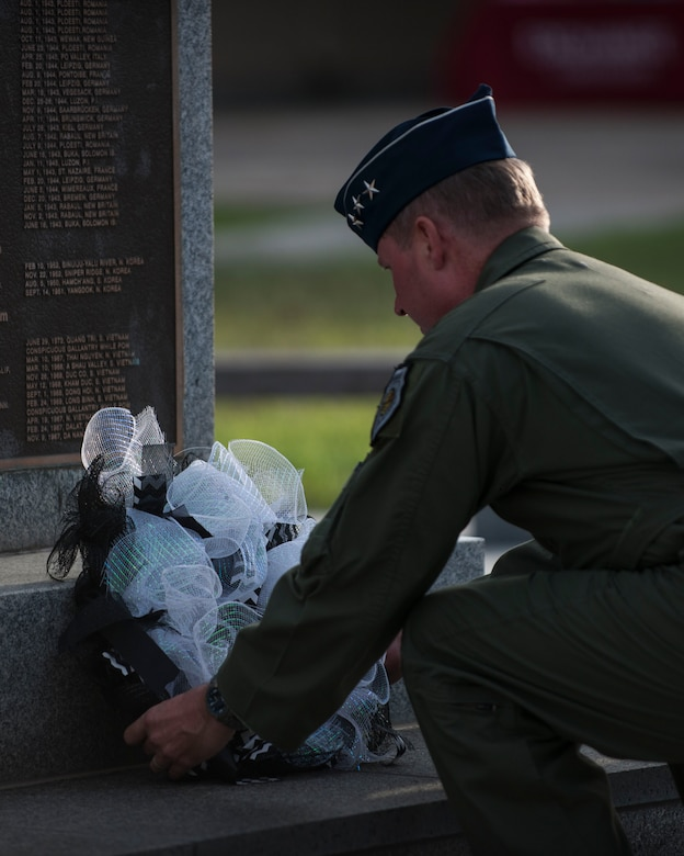 U.S. Air Force Lt. General Thomas Bergesen, 7th Air Force commander, lays a wreath during the closing ceremony of the POW/MIA Recognition Day at Kunsan Air Base, Republic of Korea, Sept. 15, 2017. The day was established by an Act of Congress, by the passage of Section 1082 of the 1998 Defense Authorization Act and is one of six days that the POW/MIA Flag can be flown. (U.S. Air Force photo by Staff Sgt. Victoria H. Taylor)