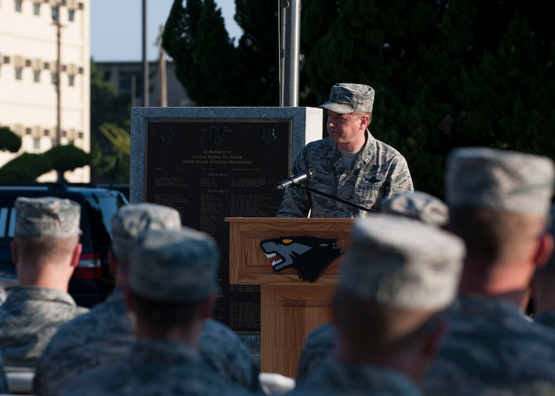 U.S. Air Force Col. Steven J. Tittel, 8th Fighter Wing vice commander, speaks during the opening ceremony of Prisoner of War and Missing in Action Recognition Day at Kunsan Air Base, Republic of Korea, Sept. 14, 2017. This day was established by an Act of Congress, through the passage of Section 1082 of the 1998 Defense Authorization Act and is one of six days that the POW/MIA Flag can be flown. (U.S. Air Force photo by Staff Sgt. Victoria H. Taylor)